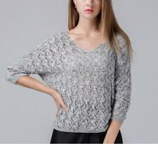 Women Knitted V Neckline Hollow Out Batwing Loose Stretched Caasual Tops Blouses