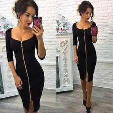 Women Low Cut Mid Sleeves Front Full Zip Up Bandaged Asymmetrical Solid Dress