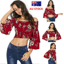 Women Floral Off Shoulder 3/4 Bell Flare Sleeve Crop Top Casual Top Blouse Shirt