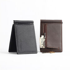 Mens Bifold Wallet Slim ID Credit Card Holder With Money Clip Zip Coin Purse