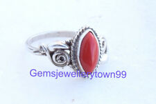 Red Coral Ring 925 Solid Sterling Silver Girl Women Stone Ring All Size R13CO