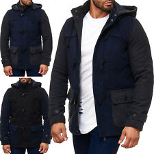 Mens Long Winter Jacket Padded Parka Coat Fleece Jacket Blouson Parker Warm