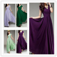Women's V Neck Empire Waist Floor Length Solid Chiffon Evening Party Flare Dress