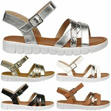 Rosalie Ladies Strappy Flats Open Toe Summer Holiday Casual Sandals Womens Shoes