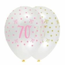 70/70th Birthday Party Decorations Helium Latex Balloons Pink/Gold