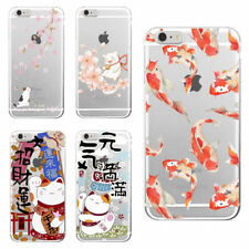 Koi Fish Cherry Blossom Lucky Cat Japanese Soft Case for iPhone 5 6 7 8 Samsung