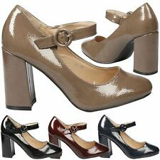 Yulisa Womens Mid High Block Heel Ladies Mary Janes Court Shoes Work Office Size