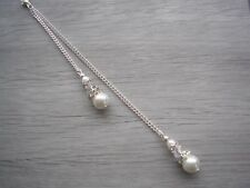 Backdrop Double Drop Pearl & Crystal Back Chain Attachment for a necklace