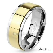 Men's 8mm Solid Stainless Steel 316L Gold IP Spinner Comfort Fit Ring Band