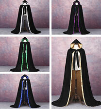 Gothic Hooded Velvet Cloak Wicca Robe Medieval Witchcraft Larp Cape  jacket