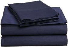 USA Bedding Item 100% Cotton 300-TC Navy Blue Solid Wrinkle Free All Size