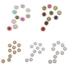 10pcs Round Pearl Rhinestone Flatback Buttons for DIY Hair Accessories 10mm