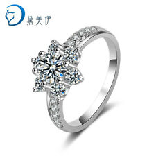 Crystal Flower 925 Sterling Silver Ring For Women Fashion Jewelry Size 6 7 8 9