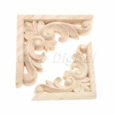 1pc/4pcs Unpainted Wood Carved Corner Decal Onlay Applique Frame Furniture Decor