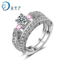 925 Sterling Silver Women Wedding Jewelry Natural Pink Crystal Engagement Ring