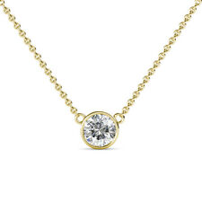 "1.51Ctw SI2 G/H Diamond Bezel Solitaire Necklace 18"" Chain 14K Solid Yellow Gold"