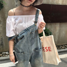 Women's Straight Leg Ankle Length Distressed Hole Washed Crop Denim Overalls