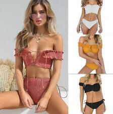 Women Solid Pleated Strapless Off Shoulder Lace Up Wrapped Crop Top+Pant Twinset