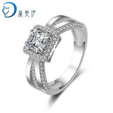 925 Sterling Silver Square Zircon Claw Rings For Women Wedding Jewelry Size 6-9