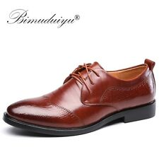 BIMUDUIYU Men Formal Shoes Leather Luxury Wedding Party Dress Shoes Black Brown