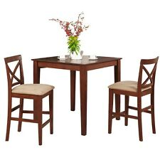 Brown Wood Dining Set Square Counter Height Table Upholstered Chairs New 3-Piece