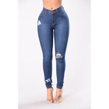 Blue Womens Ripped Skinny Jeans Stretch Denim Pants Distressed Jeans S-3XL