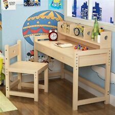 Height Adjustable Solid Wood Study Desk and Chair Set with Hutch for Kids' Desk
