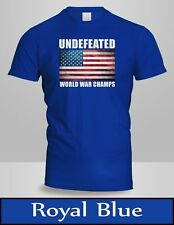 Undefeated World War Champ Belt USA America T-Shirt Mens Royal Blue Tee New 2