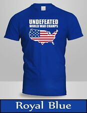 Undefeated World War Champ Belt USA America T-Shirt Mens Royal Blue Tee New 3