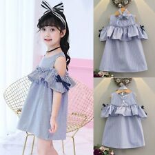 New Toddler Kids Girl Striped Ruffle Sleeveless Dress Party Clothes Summer 2-8Y