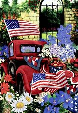 """Morigins July 4th Patriotic Welcome Double Sided Red Truck Garden Flag 12"""" x 18"""""""