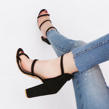 Sexy Women Open Toe Ankle Strappy Sandals Summer High Heels Suede Zipper Shoes