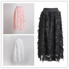 Women Fringe Hem Splicing A-Line Flare Wasitband Solid Mid-Calf Fashion Skirt