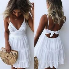 Women Lace Crochet Low Cut Strappy Pleated Hollow Out Bowknot Short Flare Dress