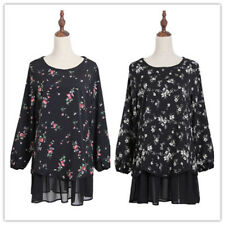 Women Round Neck Long-sleeved Flower Chiffon Spliced Plus Size Long Shirt Blouse