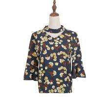 Women Flower 3/4 Flare Sleeve Front Hollow Out Crew Neck Elastic Bottom Blouse