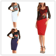 Women's Slim Floral Embroidered Sweetheart Neck Mesh Spliced Pencil Formal Dress