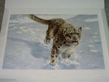 John Seerey Lester The Chase Snow Leopard Art Print Signed Numbered Running