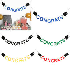 Congrats Felt Graduation Banner Doctoral Cap Garland Home Party Hanging Decor