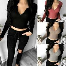Sexy V Neck Women Casual Blouse Long Sleeve Solid Slim T-Shirt Blouse Crop Tops