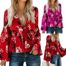 Sexy Womens Print V Neck Long Flare Sleeves Tie Belted Waist Bow Tops Blouses #A
