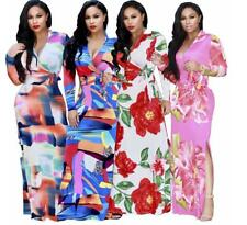 Women's Digital Tropical Flower Deep V Long Sleeve Slit Tunic Maxi Wrap Dress