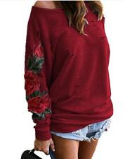 Women's Sexy Rose Embroidered Slash Neck Ripped Hole Slouchy Sweats Top S-2XL