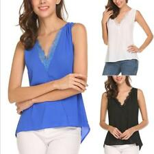 Women V Neckline Tank Top Sleeveless Lace Splicing Loose Solid Thin Blouse Tops