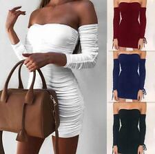 Women Wrapped Long Sleeve Pleated Lace Up Off Shoulder Package Hip Tight Dress