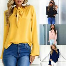Women Front Tie Up Long Bell Sleeve Loose Solid Slim Fit Shirt Tops Blouse