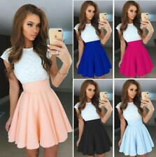 Women Lace Spliced Colour Block Cap Sleeve Crew Neck High Waist Tunic Mini Dress