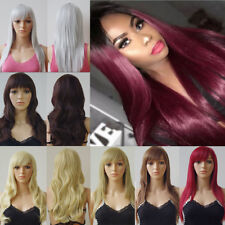 Natural Blonde Brown Red Cosplay Hair Long Wavy Straight Full Wig Daily Party Ik