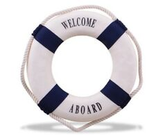 Nautical Life Saver Red And Blue Ring Bands Rope Wall Hanging House Decoration