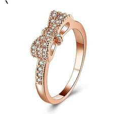 Women's Ring Full Crystal Cubic Zirconia Bowknot Rings For Women Rose Gold